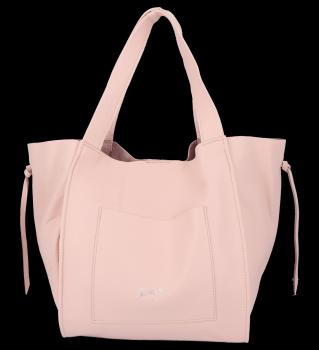 Vittoria Gotti Italské Kožené Dámské Kabelky Shopper Bag Pudrově Růžová