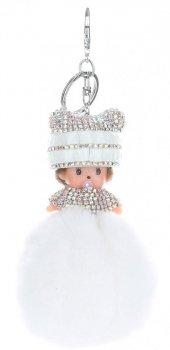 Přívěšek ke kabelce Mimino s pomponem z přírodního králíka bílý