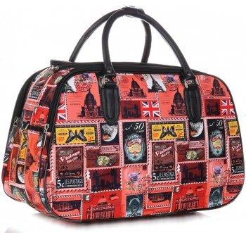 Velká cestovní taška kufřík Or&Mi Poštovní známky Multicolor - červená