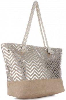 Elegantní Plážová dámská kabelka XXL módní vzory Stříbrná