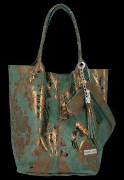 Vittoria Gotti Italské Kožené Kabelky Shopper květinový motiv Lahvově Zelená