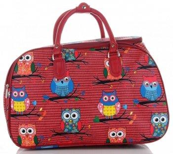 Velká cestovní taška kufřík Or&Mi vzor v sovy Multicolor - Červená