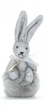 Přívěšek ke kabelce Brokátový králík s pomponem stříbrný