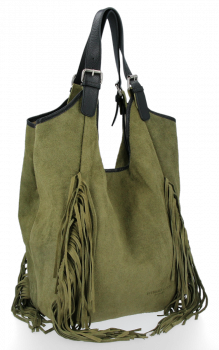 Módní Italské Kožené Dámské Kabelky Shopper Bag Boho Style Zelená
