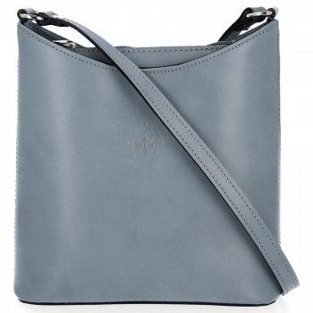 Kožená kabelka listonoška Genuine Leather Světle Šedá