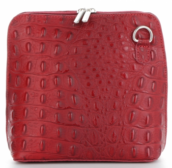 Kožená Kabelka Listonoška Genuine Leather motiv aligátorů Bordová