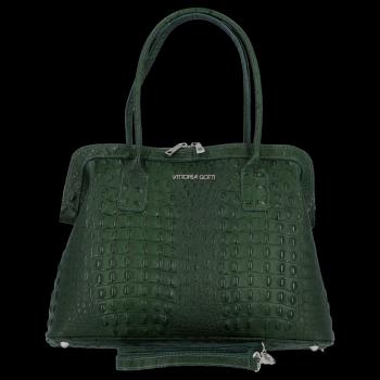 Vittoria Gotti Klasické Kožené Kabelky s motivem aligátora Lahvově zelená