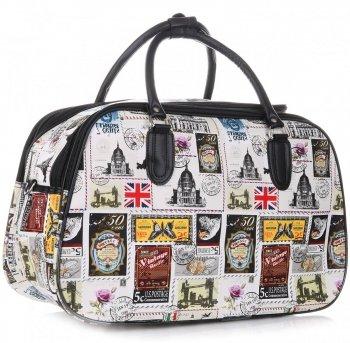 Velká cestovní taška kufřík Or&Mi Poštovní známky Multicolor - Bílá
