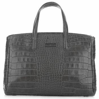 Kožené Kabelky kufřík VITTORIA GOTTI Made in Italy Aligátor šedá