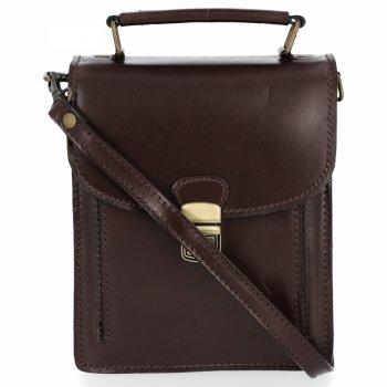 Malá Kožená kabelka dokladovka Unisex silná useň Čokoládová