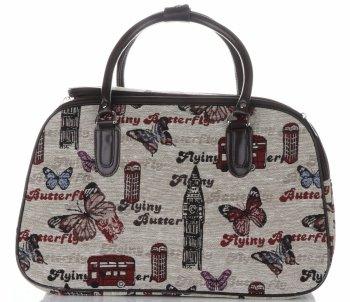 STŘEDNÍ cestovní taška kufřík Or&Mi Butterfly Multicolor - béžová