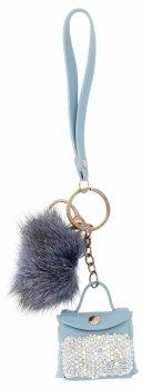 Přívěšek ke kabelce Módní Kabelka s pomponem Světle Modrá