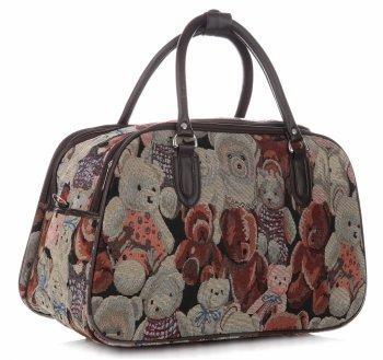 STŘEDNÍ cestovní taška kufřík Or&Mi Teddy Bear Multicolor - béžová