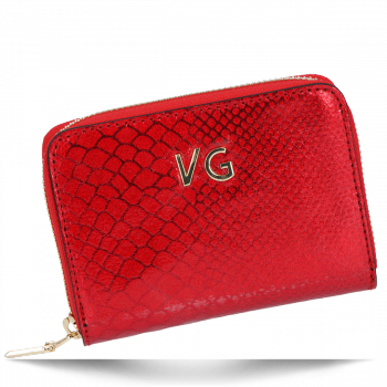Vittoria Gotti Exkluzivní Dámská Kožená Peněženka s motivem aligátora Made in Italy Červená
