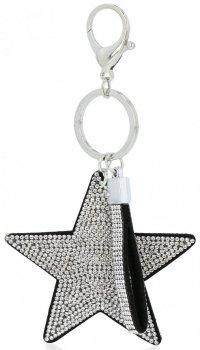 Dvoustranný Přívěšek ke kabelce Stars se zirkony Stříbrný