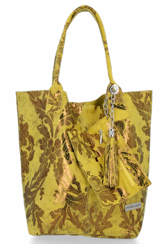 Vittoria Gotti Italské Kožené Kabelky Shopper květinový motiv Žlutá