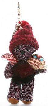 Přívěšek ke kabelce Medvídek ve vlněné čepici s přírodním mývalem burgundy