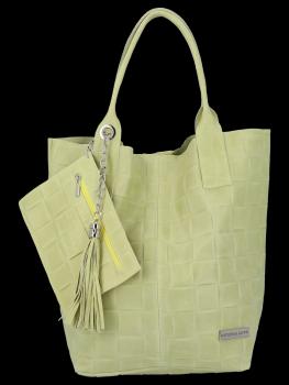 Módní Kožené Dámské Kabelky Shopper Bag XL Vittoria Gotti Limetková