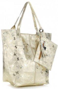Kožené kabelky Shopper bag Lakované zlatá