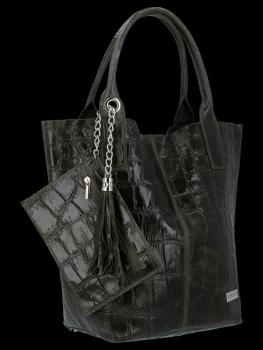 Univerzální Kožené Kabelky Shopper Bag XL se zvířecím motivem Vittoria Gotti Tmavě Zelená