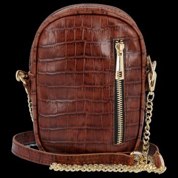 Kožená Kabelka listonoška Vittoria Gotti s motivem aligátora Hnědá