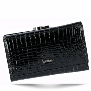 Lakovaná Dámská Kožená Peněženka s motivem aligátora značky Loren Černá