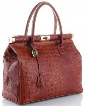 Kožené kabelky kufříky XL vzor Aligátor Genuine Leather koňak