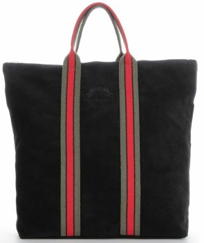 Vittoria Gotti Kožené Dámské Kabelky ShopperBag módní pruhy černá