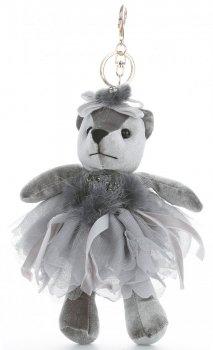 Přívěšek ke kabelce Sametový medvídek v sukýnce šedý