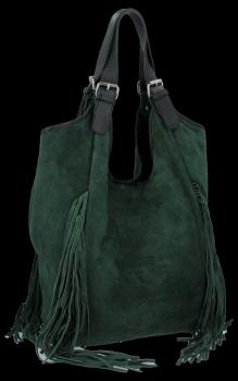 Módní Italské Kožené Dámské Kabelky Shopper Bag Boho Style Lahvově Zelená