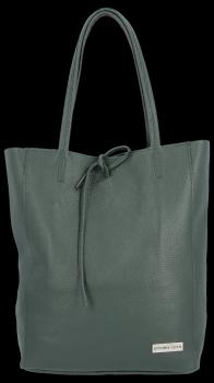Kožené Dámské Kabelky Vittoria Gotti ShopperBag XL Lahvově Zelená