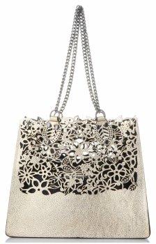 Elegantní kožená italská kabelka Vittoria Gotti Made in Italy Shopperbag XL s kosmetickou Zlatá