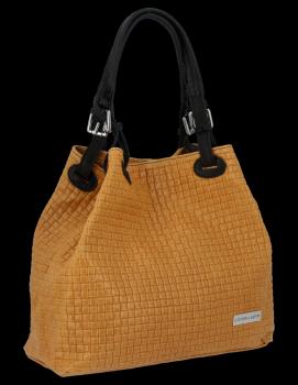 Univerzální kožená italská kabelka Vittoria Gotti Světle Zrzavá