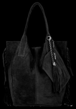 Módní Italské Kožené Kabelky Shopper Bag Boho Style Vittoria Gotti Černá