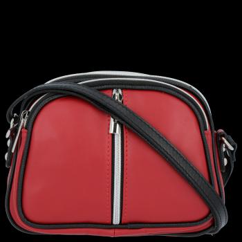 Kožené kabelky listonošky Genuine Leather 3 přihrádky Bordová