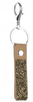 Přívěšek ke kabelce Glam Rock Key s Křišťály zemitá
