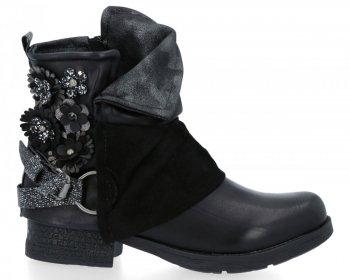 Černé stylové kotníkové boty Flora