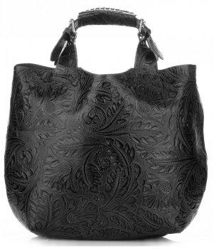 Kožená kabelka Shopperbag s kosmetickou kapsičkou černá