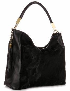 Elegantní Kožená kabelka Made in Italy Černá