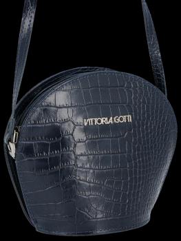 Kožená Kabelka listonoška Vittoria Gotti s motivem aligátora Tmavě modrá