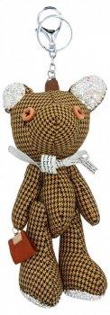 Přívěšek ke kabelce Kostkovaný Medvídek s křišťálky Zrzavý