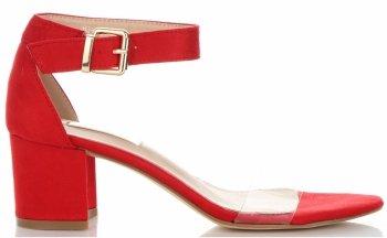 Modne Sandały Damskie na obcasie firmy Bellucci Czerwone