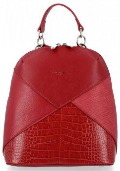 Modne Plecaczki Damskie z motywem aligatora firmy David Jones Bordowy