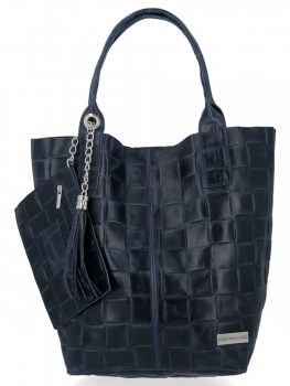 Modne Torebki Skórzane Shopper Bag XL z Etui firmy Vittoria Gotti Granat