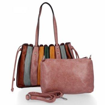 Modna Torebka Damska Shopper Bag z listonoszką firmy David Jones Brudny Róż