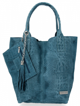 Włoskie Torebki Skórzane Shopper Bag w motyw aligatora firmy Vittoria Gotti Morska