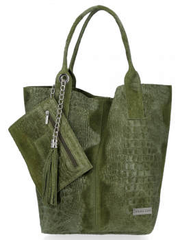 Włoskie Torebki Skórzane Shopper Bag w motyw aligatora firmy Vittoria Gotti Zielona