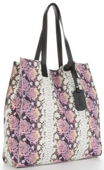 Vittoria Gotti Ekskluzywny Firmowy Shopper XL produkcji Włoskiej w modny wzór węża z Kosmetyczką Różowy