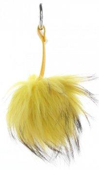 Brelok do Torebki Duży Pompon z Naturalnego Włosa Jenota Żółty