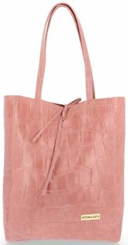 Vittoria Gotti Włoski Shopper XL Uniwersalna Torba Skórzana do noszenia na co dzień z modnym motywem Żółwia Różowa